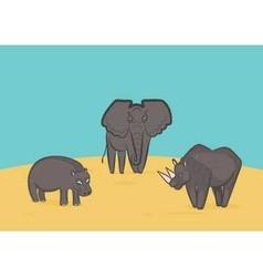 Elephant rhino and hippo vector