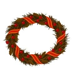 Christmas dry holly wreath vector