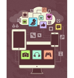 Gadgets icons network 1 vector