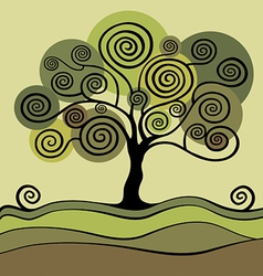 Green tree with curls vector
