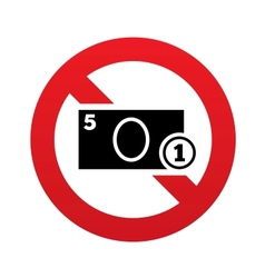 No cash sign icon coin and paper money symbol vector