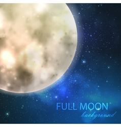 Full moon on the night starry sky background vector