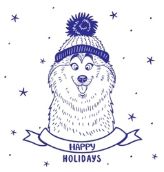 Husky holiday vector