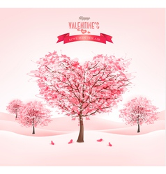 Pink heart-shaped sakura trees valentines day vector