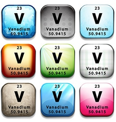 A button showing the element vanadium vector