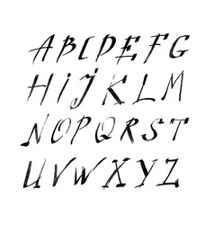 Hand drawn letters rustic style alphabet vector