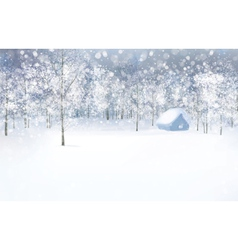 Winter house forest vector