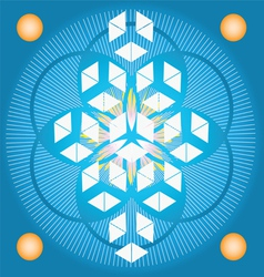 Sacred geometry flower of life blue seed vector