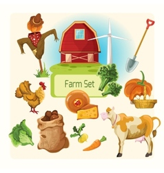 Farm decorative set vector