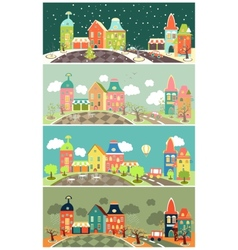 Urban landscape of four seasons vector