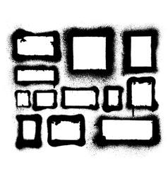 Detailed aerosol spray paint frames and borders vector