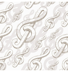 Seamless background with hand drawn treble clef vector