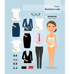 Business lady paper doll cute girl in office vector