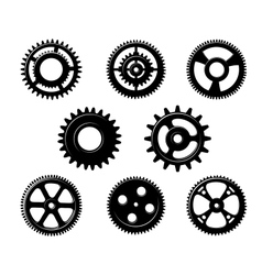 Set of metallic pinions and gears vector