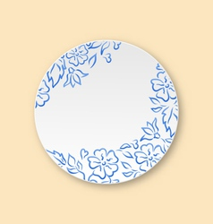 White plate with hand drawn floral ornament empty vector