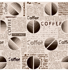 Coffee pattern in newspaper style vector