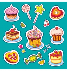 Sweets stickers vector