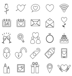 Valentines day line icons on white background vector