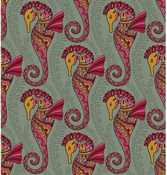 Seamless pattern of seahorses vector