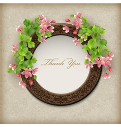 Floral thank you card vector