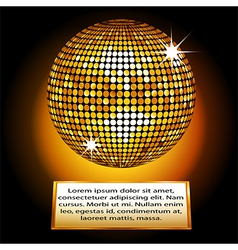 Golden disco ball plaque vector