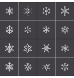 Black snowflake icons set vector