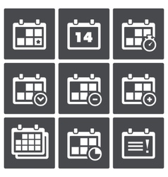 Calendar with notes icon set vector