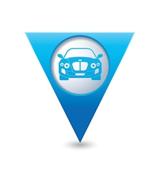 Car blue triangular map pointer vector