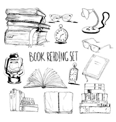 Books reading set vector