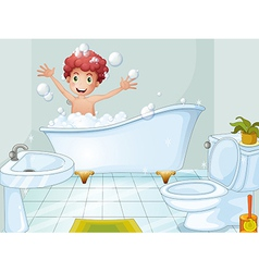 A cute boy taking a bath vector