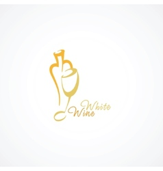 A wine bottle and a glass icon vector