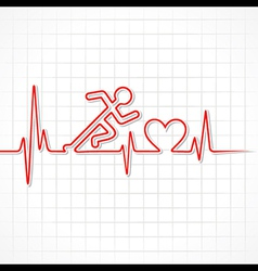 Heartbeat make running man symbol vector