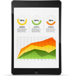 Tablet with statistics chart vector