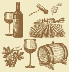 Hand drawn of wine vector
