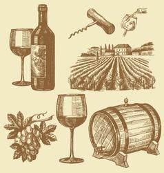 Hand drawn of wine vector