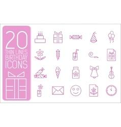 Thin line happy birthday icons set concept vector