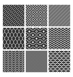 Monochrome geometric seamless textures vector