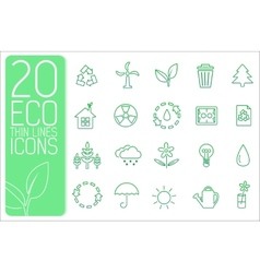 Thin line eco neture set icons concept desi vector