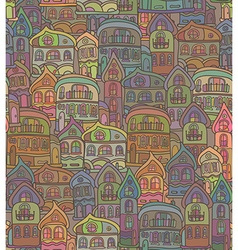 Seamless pattern with stylized citys old houses vector