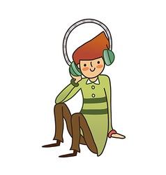Close-up of boy listening music vector