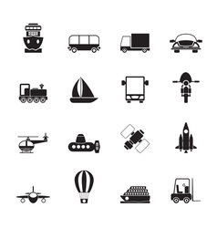 Silhouette transportation and shipment icons vector