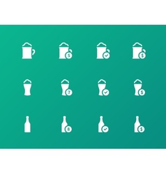 Beer and alcohol glasses icons on green background vector