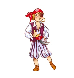 Boy dressed as pirate for christmas vector