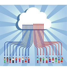 Cloud computing people communication vector