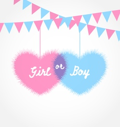 Pink and blue baby shower in form hearts with vector