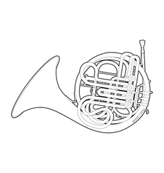 Outline french horn vector