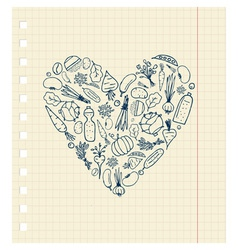 Healthy life - heart shape with vegetables vector