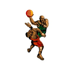 Basketball player dunking blocking vector
