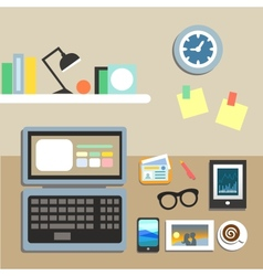 Set of office workplace items vector
