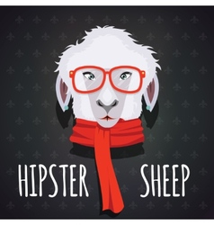 Sheep hipster dressed in red scarf vector